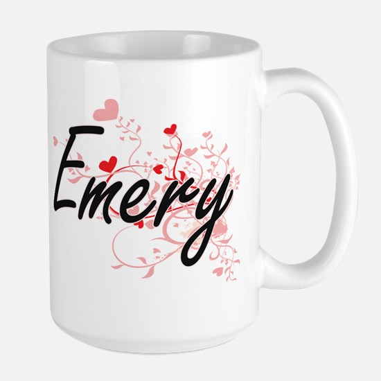 Emery Artistic Name Design with Hearts Mugs