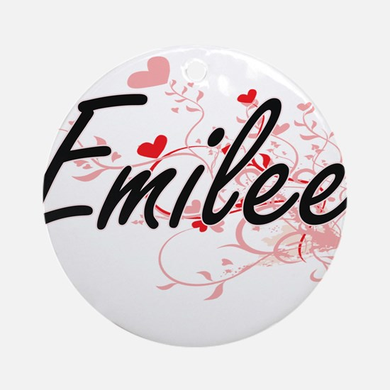 Emilee Artistic Name Design with Ornament (Round)