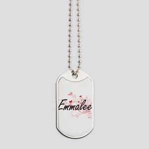 Emmalee Artistic Name Design with Hearts Dog Tags