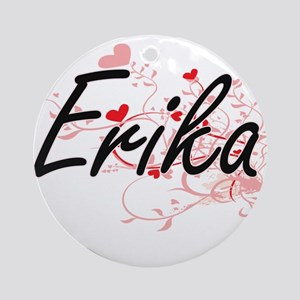 Erika Artistic Name Design with H Ornament (Round)