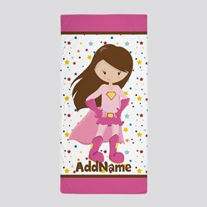 Pink Girl Superhero Personalized Beach Towel