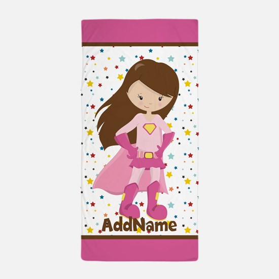Pink Girl Superhero Personalized Beach Towel