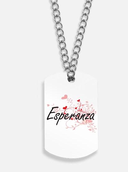 Esperanza Artistic Name Design with Heart Dog Tags