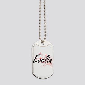 Evelin Artistic Name Design with Hearts Dog Tags