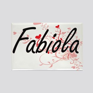 Fabiola Artistic Name Design with Hearts Magnets