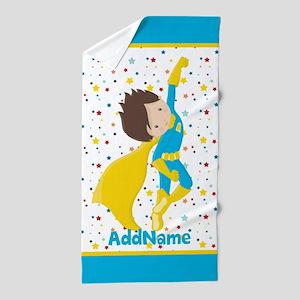 Teal Yellow Boy Superhero Personalized Beach Towel