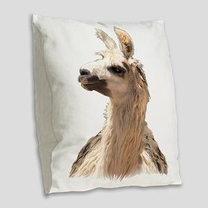 just a great llama Burlap Throw Pillow