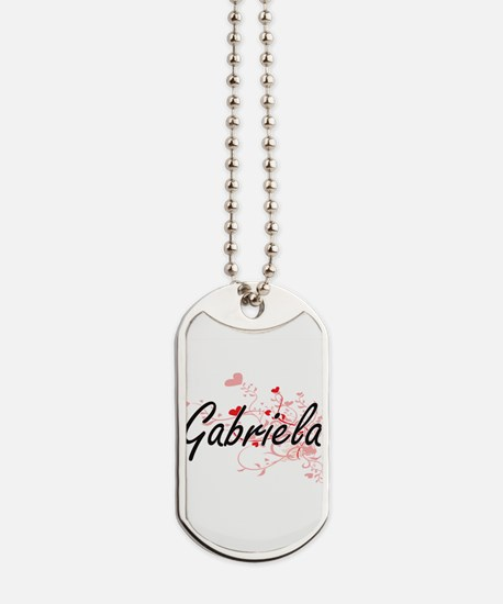 Gabriela Artistic Name Design with Hearts Dog Tags