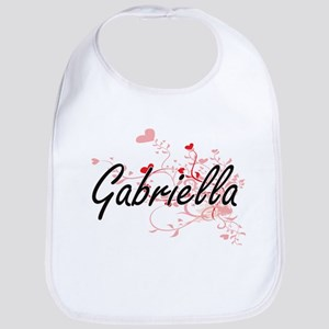Gabriella Artistic Name Design with Hearts Bib
