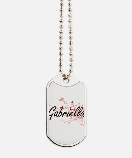 Gabriella Artistic Name Design with Heart Dog Tags