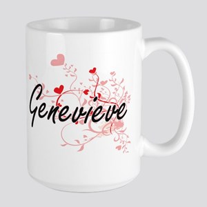 Genevieve Artistic Name Design with Hearts Mugs