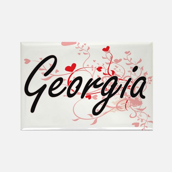Georgia Artistic Name Design with Hearts Magnets