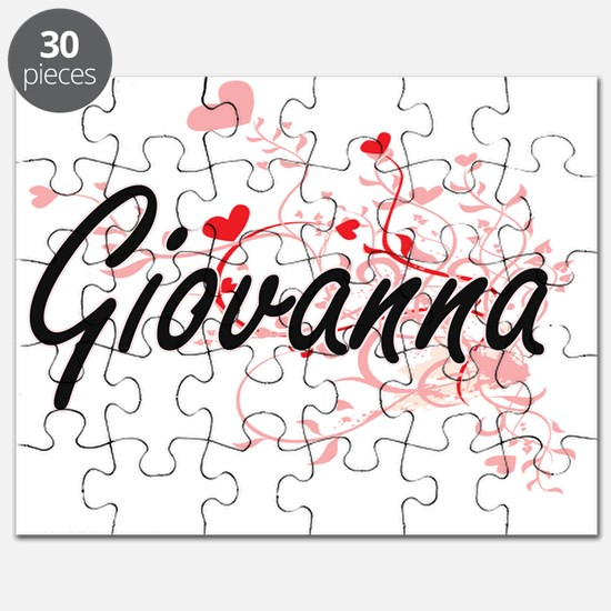 Giovanna Artistic Name Design with Hearts Puzzle