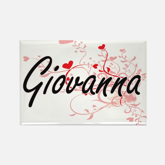 Giovanna Artistic Name Design with Hearts Magnets