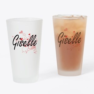 Giselle Artistic Name Design with H Drinking Glass