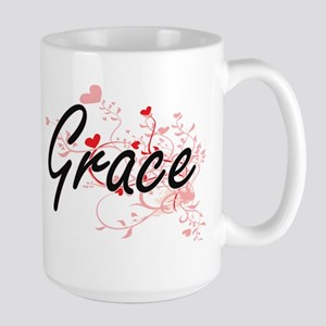 Grace Artistic Name Design with Hearts Mugs