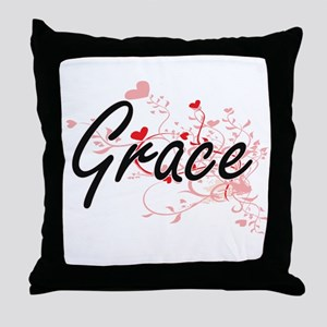 Grace Artistic Name Design with Heart Throw Pillow
