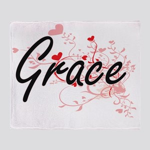 Grace Artistic Name Design with Hear Throw Blanket