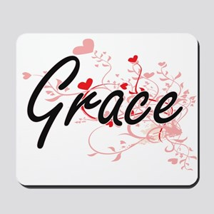 Grace Artistic Name Design with Hearts Mousepad