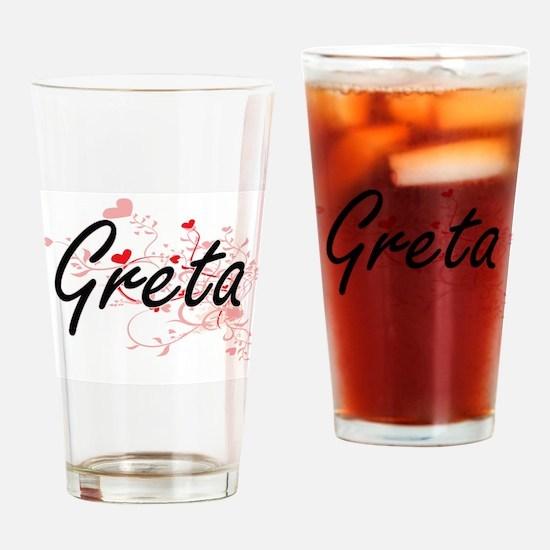 Greta Artistic Name Design with Hea Drinking Glass