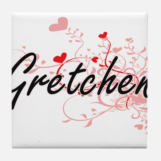Gretchen Artistic Name Design with He Tile Coaster