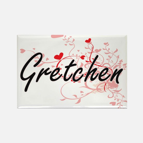 Gretchen Artistic Name Design with Hearts Magnets