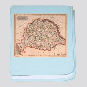 Vintage Map of Hungary (1817) baby blanket