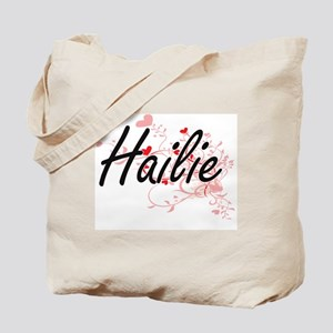 Hailie Artistic Name Design with Hearts Tote Bag