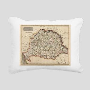 Vintage Map of Hungary ( Rectangular Canvas Pillow