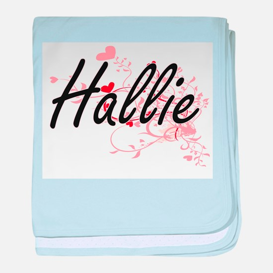 Hallie Artistic Name Design with Hear baby blanket