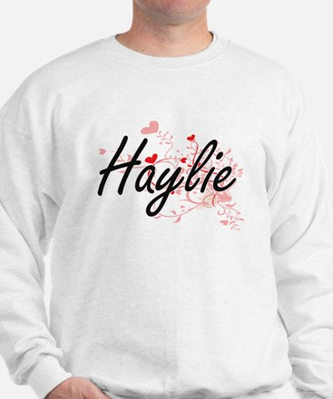 Haylie Artistic Name Design with Hearts Jumper