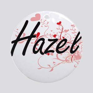 Hazel Artistic Name Design with H Ornament (Round)