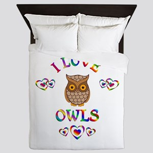 I Love Owls Queen Duvet