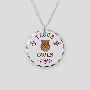 I Love Owls Necklace Circle Charm