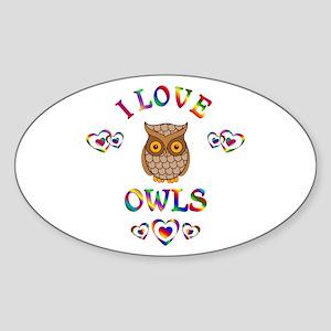 I Love Owls Sticker (Oval)