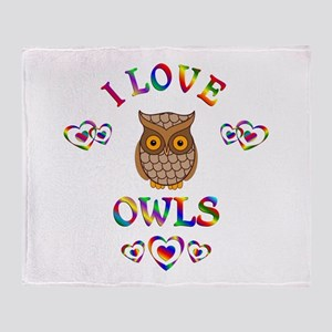 I Love Owls Throw Blanket