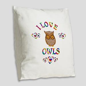 I Love Owls Burlap Throw Pillow