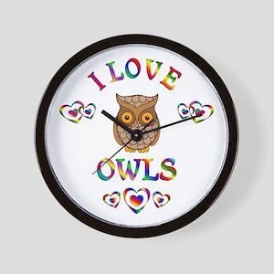 I Love Owls Wall Clock