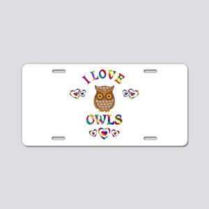 I Love Owls Aluminum License Plate