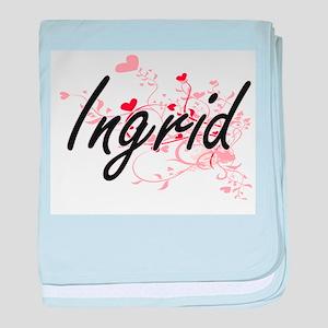 Ingrid Artistic Name Design with Hear baby blanket
