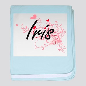 Iris Artistic Name Design with Hearts baby blanket
