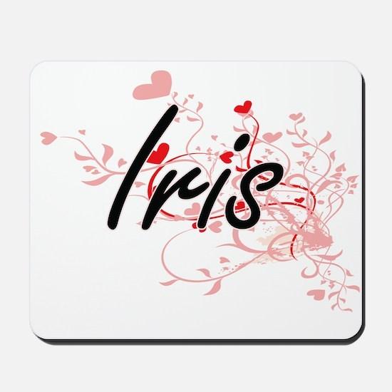Iris Artistic Name Design with Hearts Mousepad
