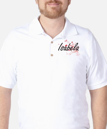 Isabela Artistic Name Design with Heart Golf Shirt