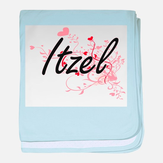 Itzel Artistic Name Design with Heart baby blanket