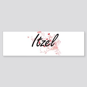 Itzel Artistic Name Design with Hea Bumper Sticker