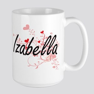 Izabella Artistic Name Design with Hearts Mugs
