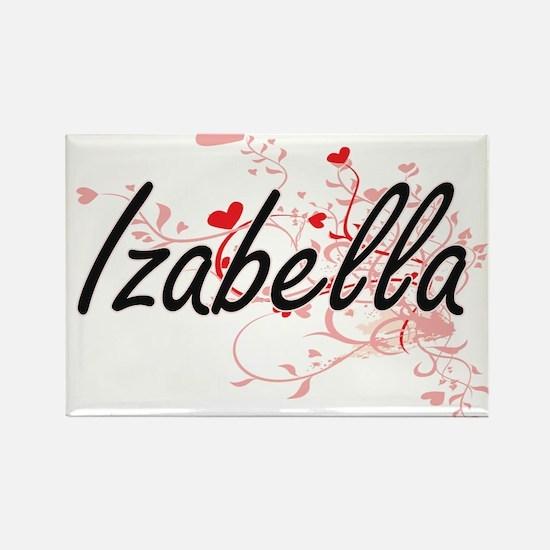 Izabella Artistic Name Design with Hearts Magnets