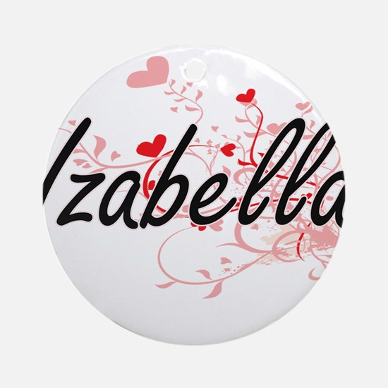 Izabella Artistic Name Design wit Ornament (Round)