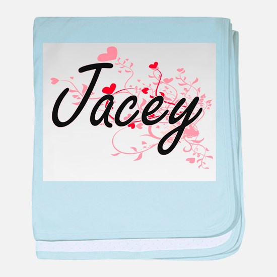 Jacey Artistic Name Design with Heart baby blanket