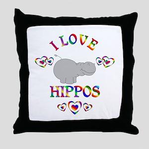 I Love Hippos Throw Pillow